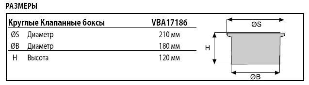 Технические характеристики водяной розетки Rain Bird VBA17186